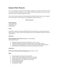 resume examples resume cover letter for restaurant server how to resume examples server job resume server job description for resume gopitch co