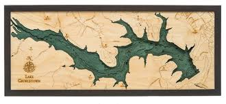 Lake Arrowhead Depth Chart Lake Georgetown Wood Carved Topographical Depth Chart Map