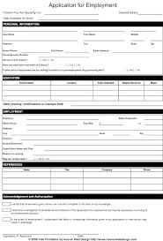 Generic Blank Job Application Blank Employment Application Template General Job Form Download Free