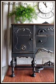 redo old kitchen table. antique buffet refinished by {create inspire} #paintedfurniture #blackbuffet redo old kitchen table o