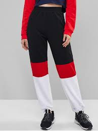 Pants In Colorblock High Waist Jogger Pants Multi A