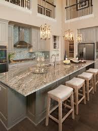 Gorgeous Two Story Kitchen, Granite Countertops, Pendant Lighting, Blue  Mosaic Backsplash Tile,