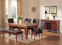 marble dining room furniture. Amazon.com - ACME Bologna Brown Marble Top Dining Table, Cherry Finish Table \u0026 Chair Sets Room Furniture B