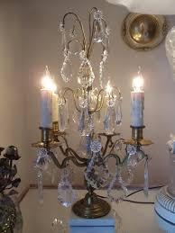 antique vtg french brass crystal chandelier girandole