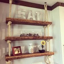 reclaimed hanging shelf wall decor rope