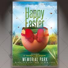 Easter Egg Party Flyer Spring Psd Template