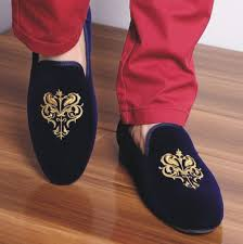 Mens Bedroom Shoes Men Blue Party Velvet Shoes Men Embroidered Slippers Mens Casual