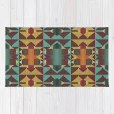 dark red orange turquoise teal rustic mosaic pattern rug