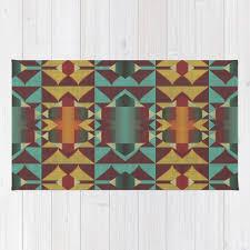 dark red orange turquoise teal rustic mosaic pattern rug
