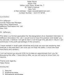 Cover Letter Cover Letter Interest Assistant Estimator Job