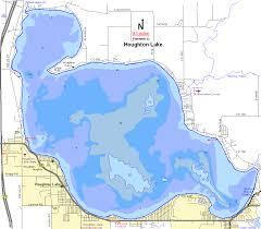 Houghton Lake Map Roscommon County Michigan Fishing Michigan