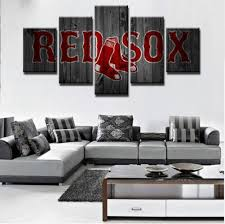 boston red sox wall art canvas home decor 5 panel canvas print painting wall pic  on boston red sox canvas wall art with boston red sox wall art canvas home decor 5 panel canvas print