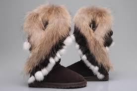 New UGG 8688 Women Fox Fur Tall Boots Chocolate