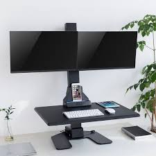 standing desk converter dual monitor. Unique Dual AdvnUp Electric Automatic Standing Desk Converter Riser With Dual Monitor  Mount 0 And I