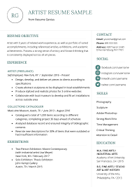 Artist Resume Sample Writing Guide Resume Genius