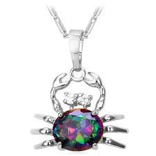 Collare Crystal Cute Crab Pendant <b>Gold</b>/<b>Silver Color</b> Cubic Zirconia ...