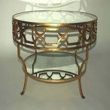treillage round gold leaf mirrored coffee table view full size
