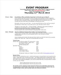 Program Of Events Sample Program Sample For Events Rome Fontanacountryinn Com