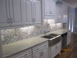 Gray And White Kitchen Image Result For Cream Cabinets Grey Glass Backsplash Grey Island
