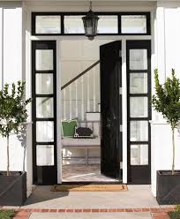 front door with sidelightGlossy Black Front Door with Black Sidelights  Transitional