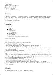 Health Unit Coordinator Job Description Resume 1 Health Unit Coordinator Resume Templates Try Them Now