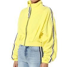 Striped Cropped Windbreaker Yellow Jacket