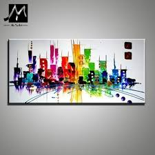 Tableau Contemporain Design Us 51 51 14 Off Muya Fashion Home Design Modern City Scenery The Canvas Painting New York Pictures Tableau Large Abstract Painting Office In