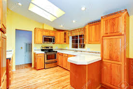 Light Yellow Kitchen Countryside House Kitchen Room Interior Maple Cabinets With