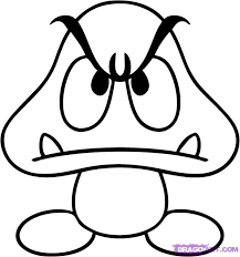 How To Draw Mario Characters How To Draw A Goomba Step Step Video