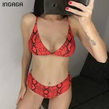 authentic INGAGA High Waist Bikini 2019 Mujer Push Up ... - Qoo10