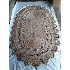 brown oval shape jute rugs