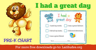 Free Had A Great Day Behavior Chart For Pre K Acn Latitudes