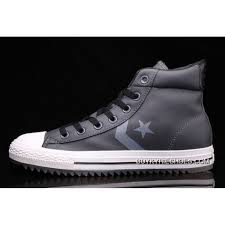 top deals grey leather converse padded collar ct all star high tops shoes
