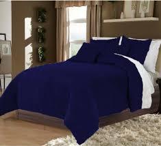 details about 5pc twin twin xl reversible royal blue white plain velvet duvet cover set