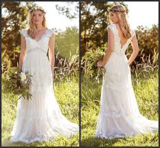 Discount 2016 Hippie Romantic Garden Wedding Dresses V Neckline