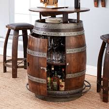 vintage oak wine barrel bistro table bar stools whiskey finish