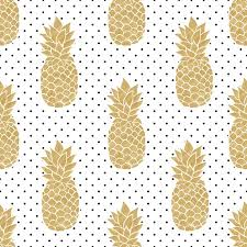 Pineapple Pattern Impressive Seamless Pattern With Gold Pineapples On Polkadot Background Black