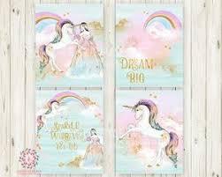 set 4 boho unicorn rainbow gold stars wall art print baby girl pink gold fantasy watercolor on gold stars wall art with set 4 boho unicorn rainbow gold stars wall art print baby girl pink