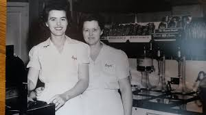 Myrtle Boyd and her daughter Hazel Gordon at Boyd's Sandwich Shop, Upper  Alton, in the mid forties. | Alton, Madison county, Illinois
