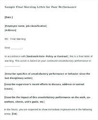 How To Write Up A Written Warning For An Employee Warning Letter For Job Performance Unsatisfactory Write Up Review
