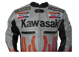 kawasaki flame style motorcycle leather jacket size