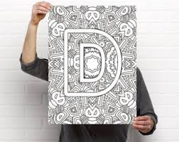 Small Picture Alphabet Adult Coloring Pages Instant Download Letter K from