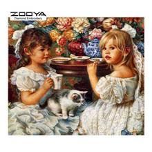 Popular <b>Zooya Diamond Embroidery 5d</b> Diy Painting Girl and Flower ...