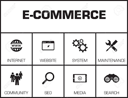 Commerce Chart E Commerce Chart With Keywords And Icons On Yellow Background