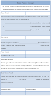 for planner format of planner event planning contract templates