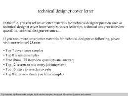 Sample Technical Cover Letters Technical Designer Cover Letter
