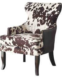 fabric accent chairs.  Fabric Faux Cowhide Fabric Accent Chair With Stud Detail Brown On Chairs C