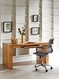 office table design. Decoration: Beauteous Idea Of Small Office Designs With Brown Wooden Table Plus Fake Flowers On Design
