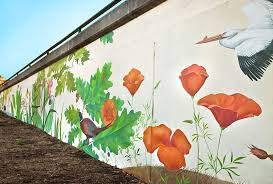 my first outdoor wall art in america  on hand painted wall murals artist with outdoor wall art in oakland california native birds plants of