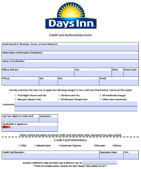 Credit Consent Form Free Days Inn Credit Card Authorization Form Pdf